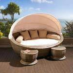 View Item Large Garden Rattan Daybed Brown/Cream Cushions, stools, canopy, cover