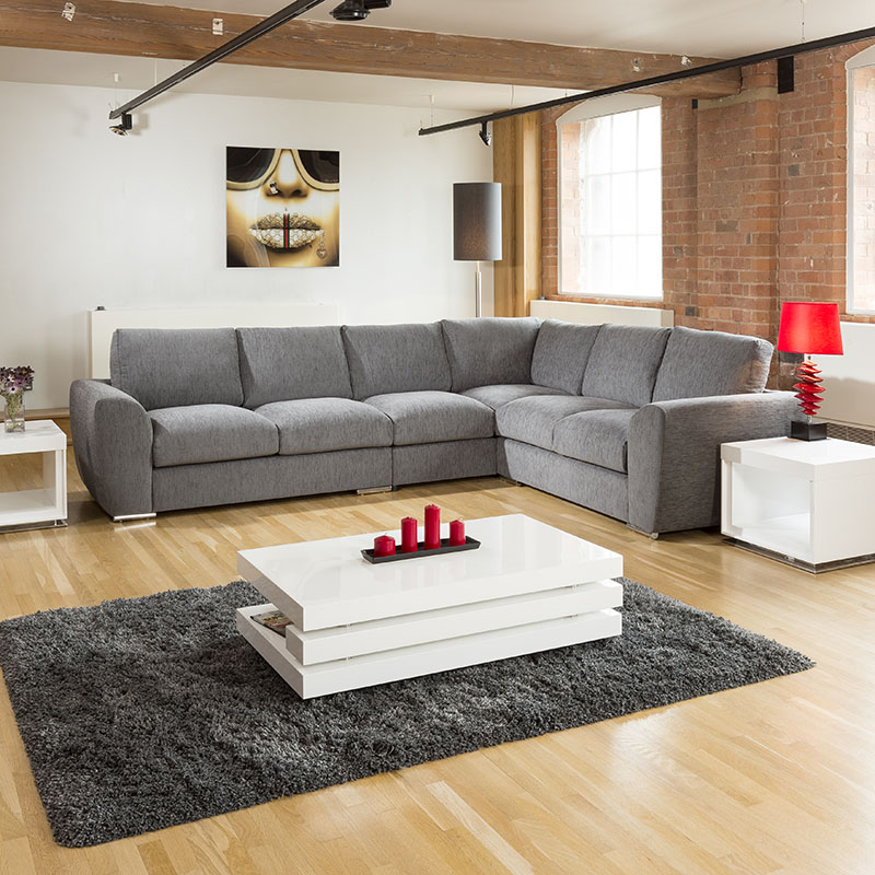 Extra Large L Shape Sofa Set Settee Corner Group Grey L Stock Ebay