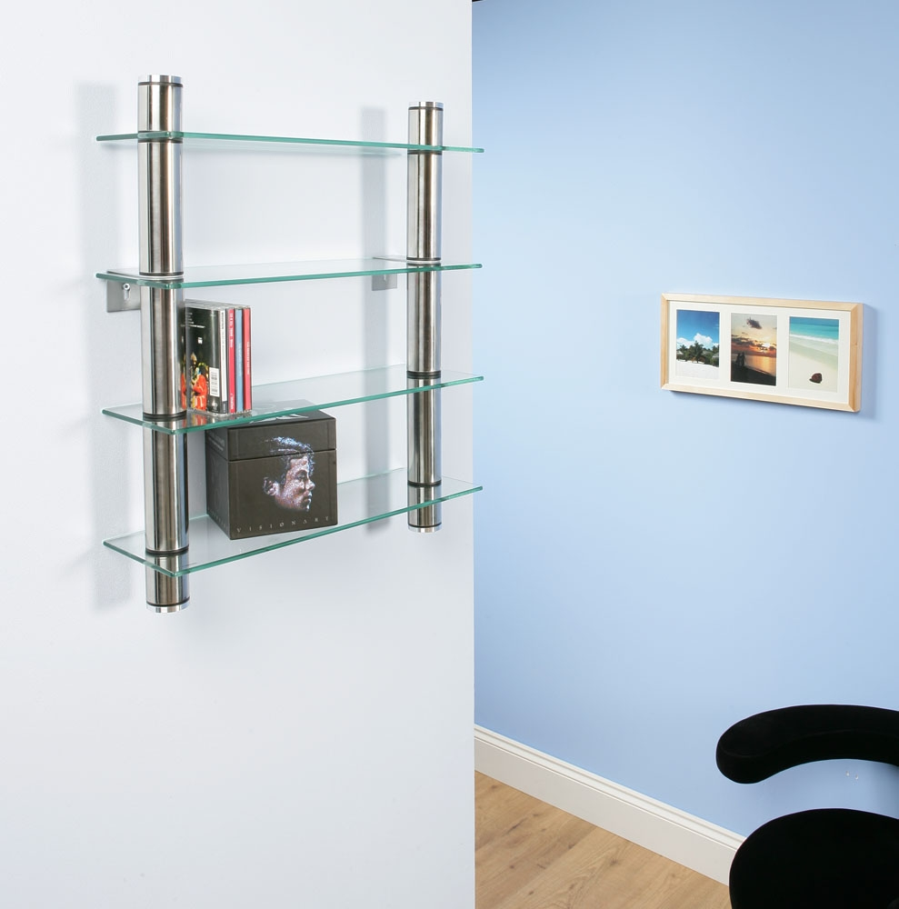 Cd Rack Shelf Shelves Shelving Wall Mounted Clear Glass