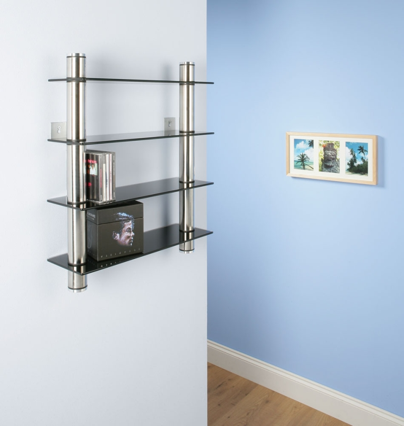 cd rack shelf storage black glass wall mounted ebay