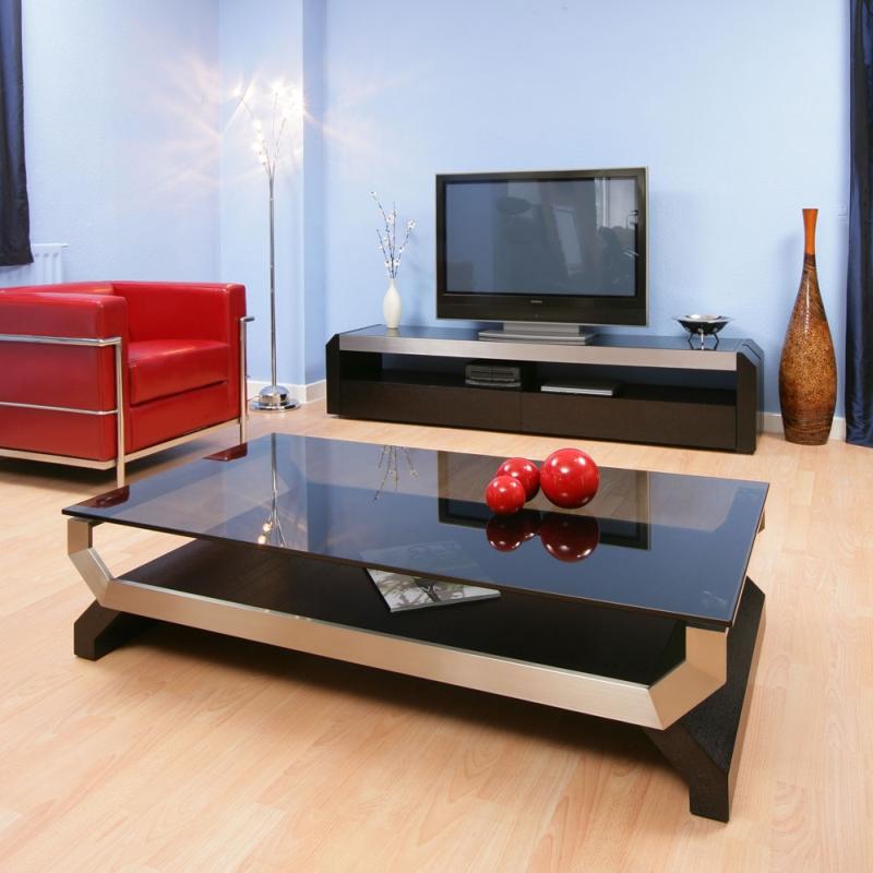 Ebay Oak And Glass Coffee Table: Modern Designer Coffee Table Black Oak Smoked Glass Alum