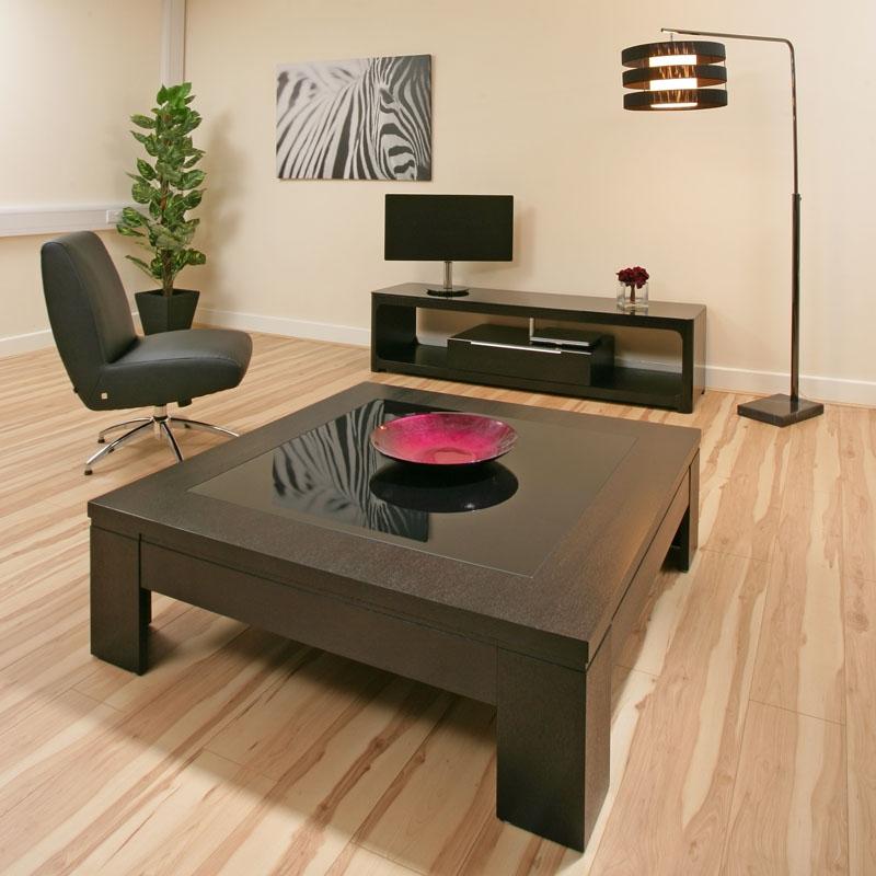 Coffee Table Large Square Black Oak Black Glass Modern Hi Quality 71e Ebay