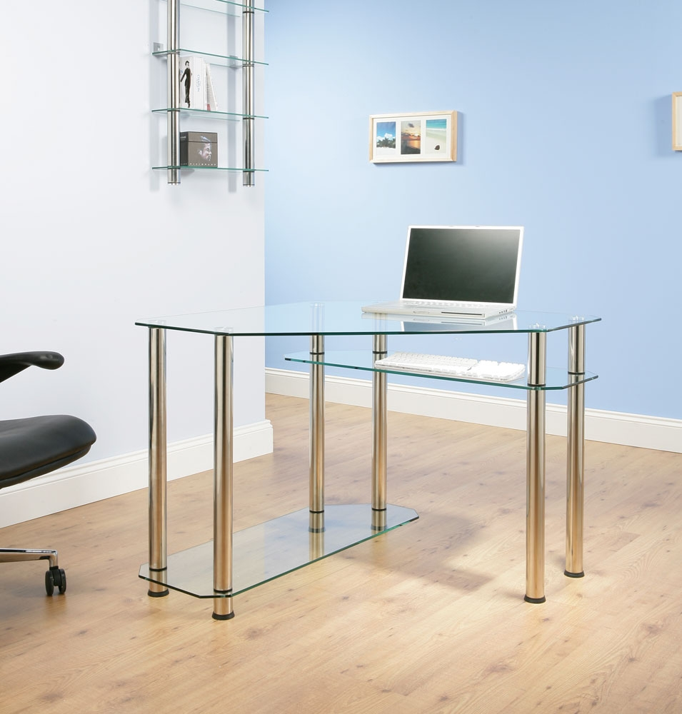 desk corner clear glass chrome table office cx1300c ebay