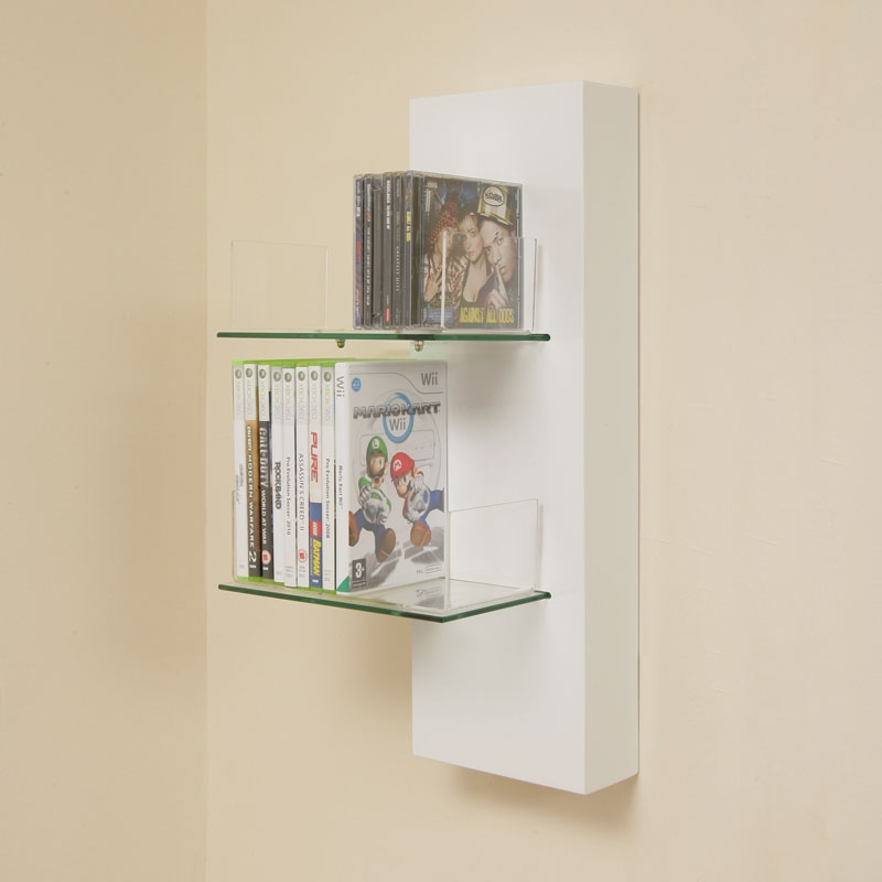 Dvd Cd Rack Shelf White Gloss Wall Mounted Glass 011c Ebay