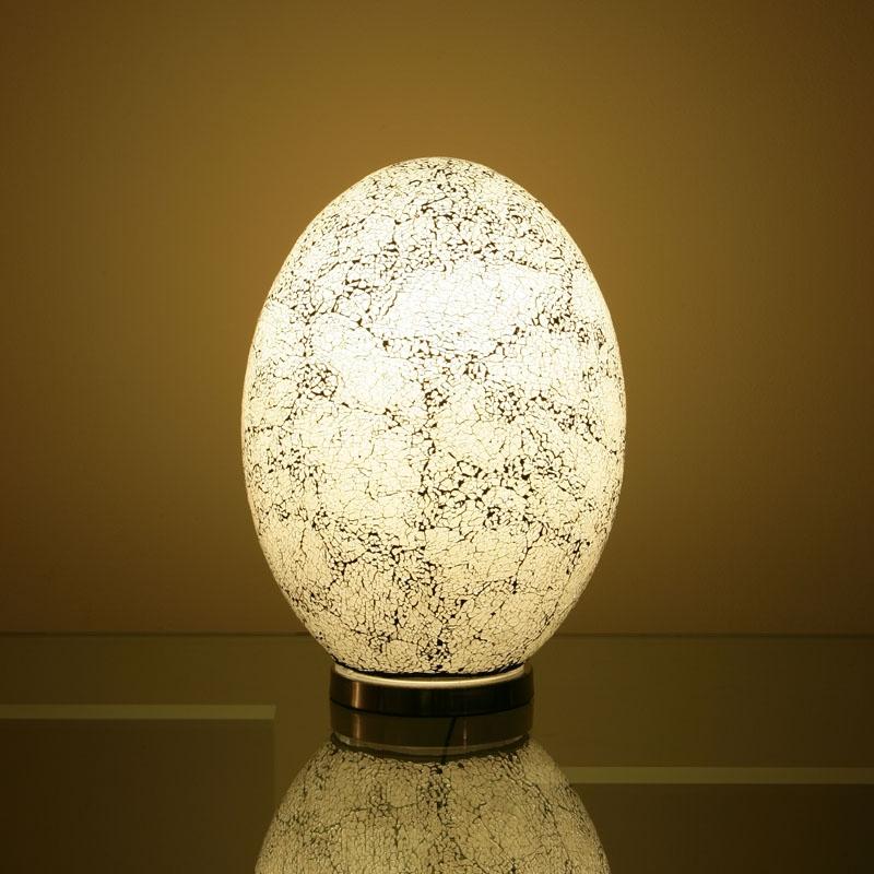 Egg Shaped Table Desk Lamp Light White Glass 80w
