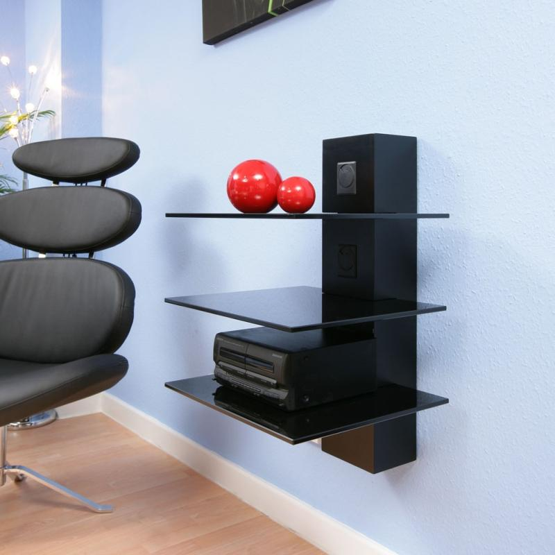 hifi stand shelves black glass cable mgt wall mounted modern 14a. Black Bedroom Furniture Sets. Home Design Ideas