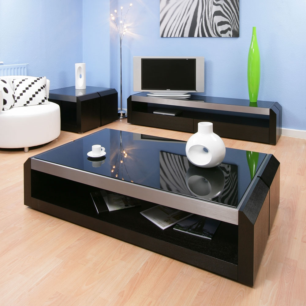 Large black oak glass coffee lamp side table modern designer 01a ebay Designer glass coffee tables