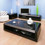 View Item Large Black Oak / Glass Coffee / Lamp / Side Table Modern Designer 01A