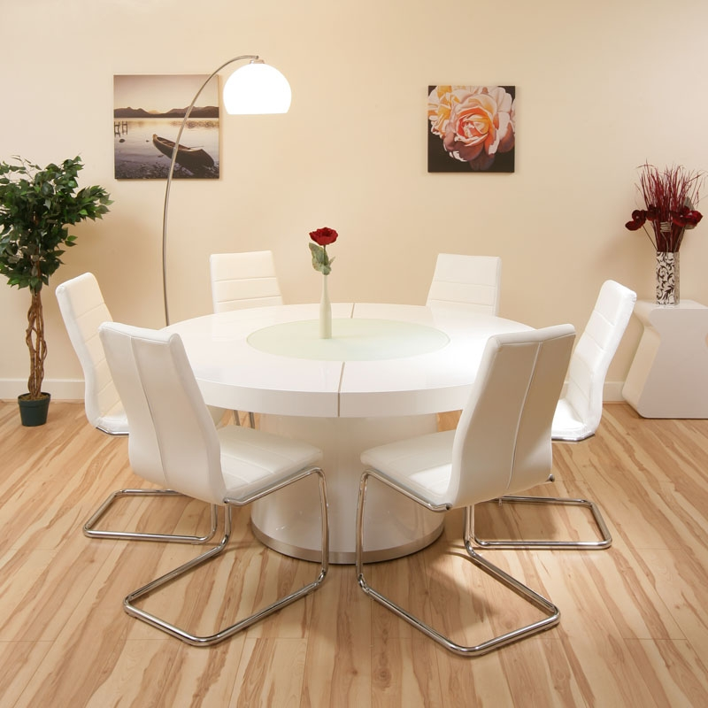 Large round dining set white gloss table 6 white chairs for White dining table set