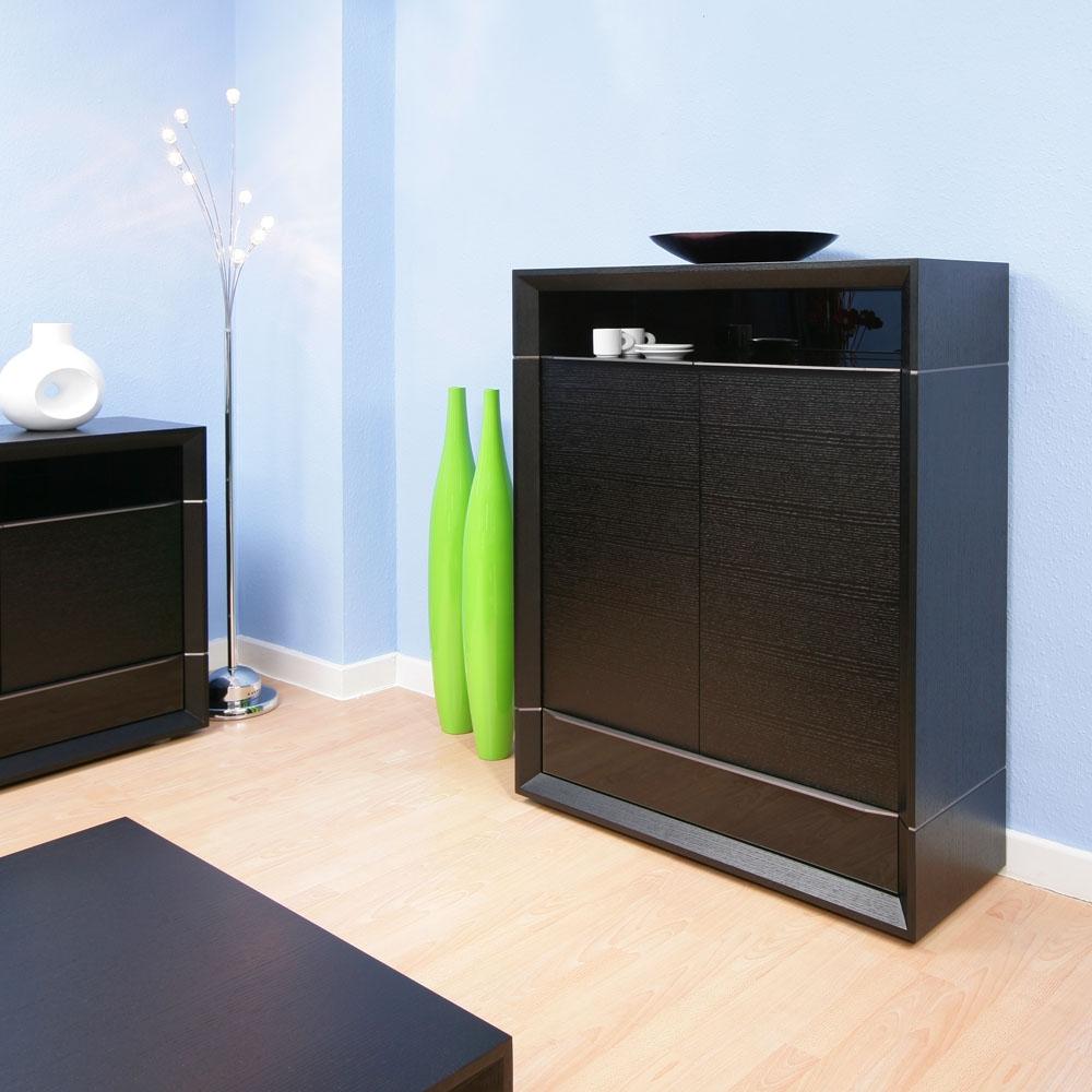 Luxury Tall Black Oak Sideboard Cabinet Buffet Black