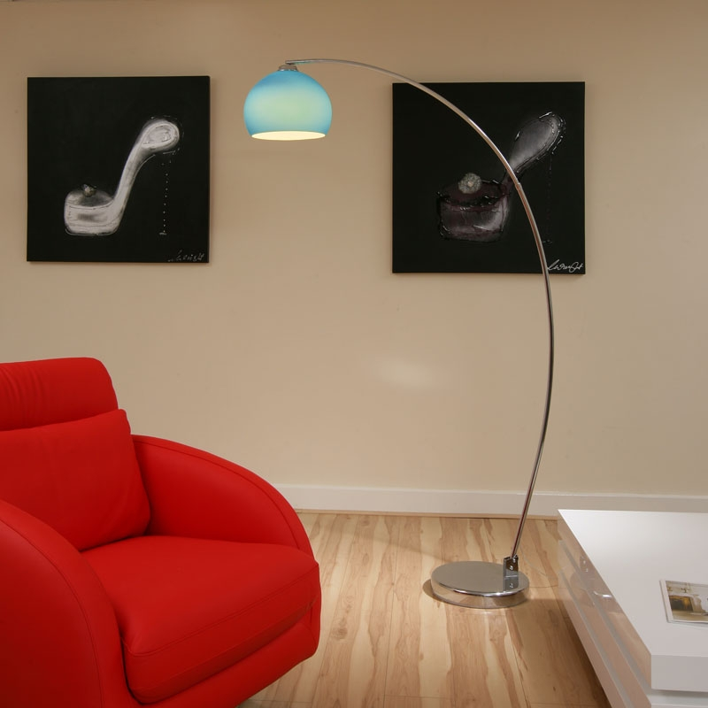 Retro blue glass standard floor lamp light lou ret bl ebay for Floor lamp with blue glass