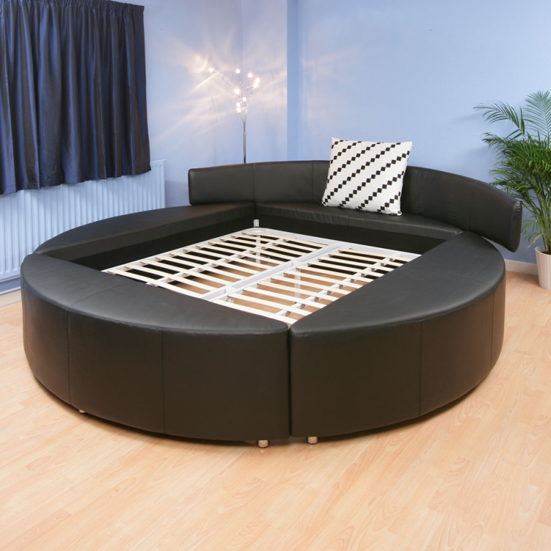 SUPER KING SIZE ROUND BED WHITE LEATHER 6ft