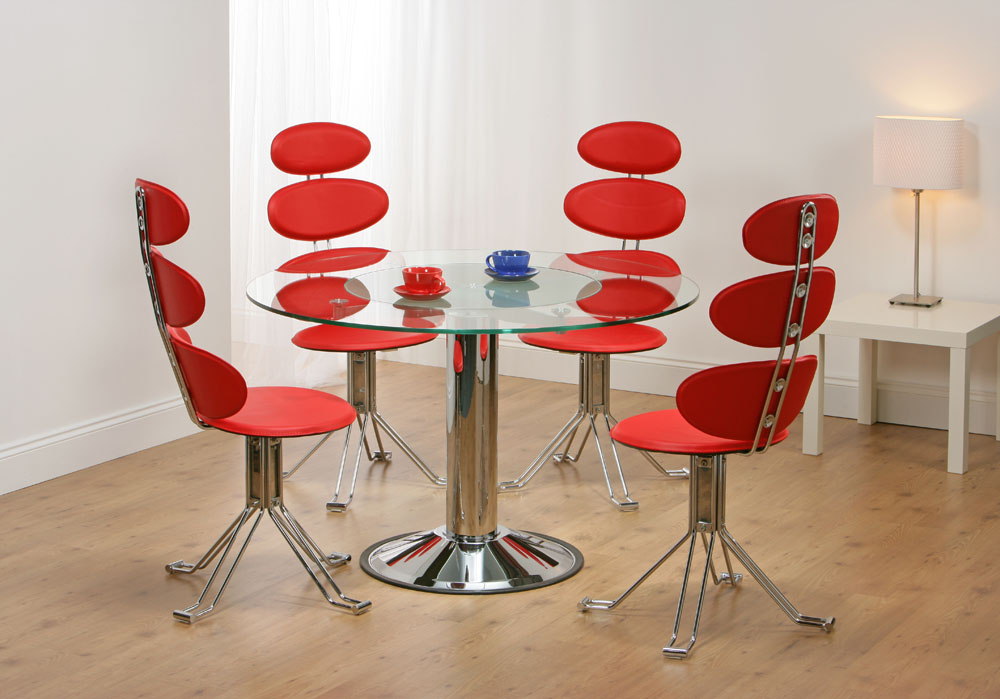 Venice revolving glass dining table 4 red chairs truly for Unique dining tables