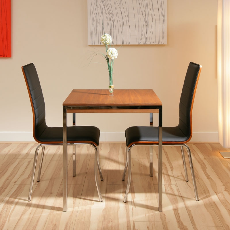 Walnut small square dining table 2 black chairs cafe ebay for Small black dining table and chairs