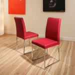 View Item dining chair chairs set of 2 Wine Red Modern Cafe B