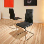 View Item dining chair chairs set of 2 Black Faux leather Modern