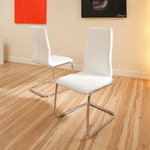 View Item dining chair chairs set of 2 White Faux leather Modern