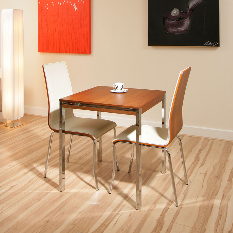 walnut small square dining table 2 ivory chairs cafe ebay. Black Bedroom Furniture Sets. Home Design Ideas