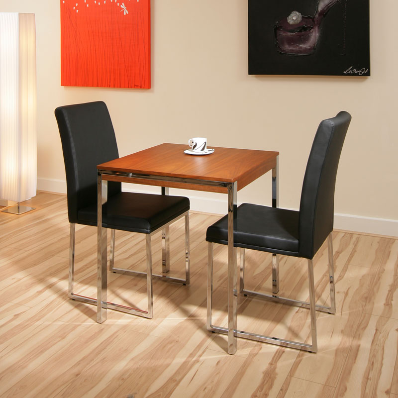 Walnut small square dining table 2 black chairs cafeb ebay for Small black table and chairs