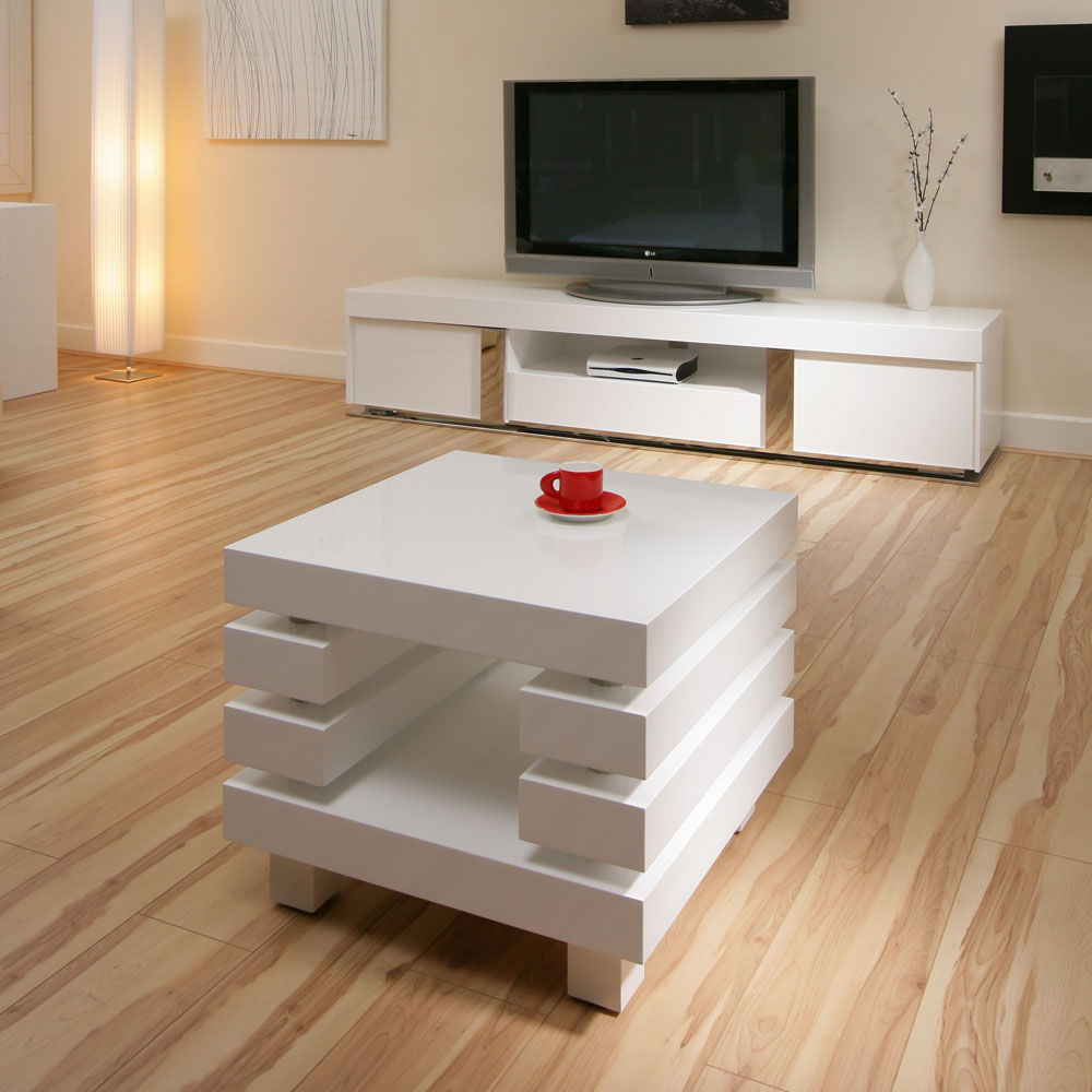 Modern lamp tables - Sentinel Coffee End Side Lamp Table Square White Gloss Modern New 97b