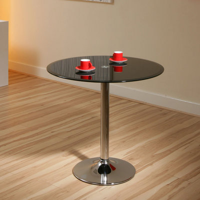 Round Glass Dining Table Black Safety Glass, Chrome Base 80cm Dia A12 Preview