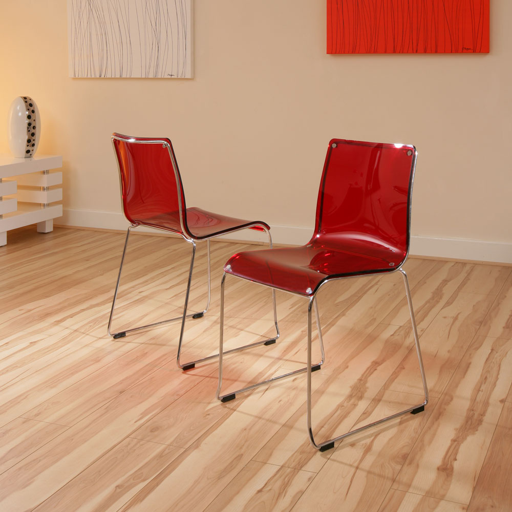 Dining chair chairs set of 2 red acrylic modern 53 ebay for Red modern dining chairs