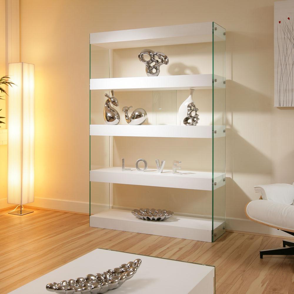 Display Cabinet Shelving Unit Shelves White Gloss