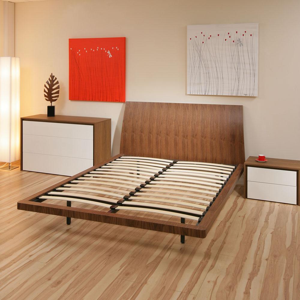 King Size Double Bed Frame Walnut No Mattress Modern