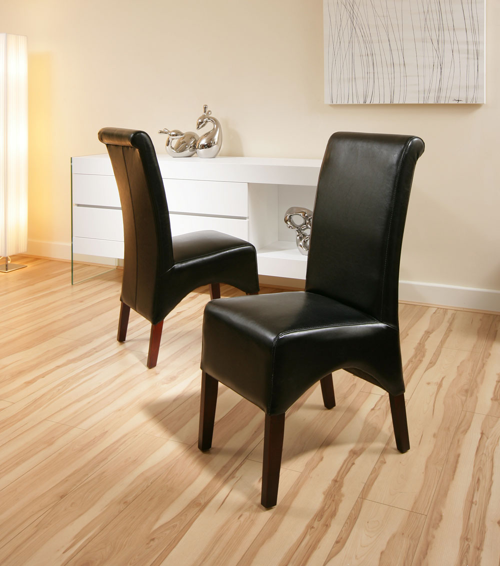 dining chairs black dark leg leather high back set of 2 new epsom