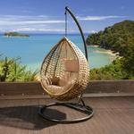 View Item Luxury Garden Hanging Chair Brown Rattan Cream Cushion &amp; Raincover