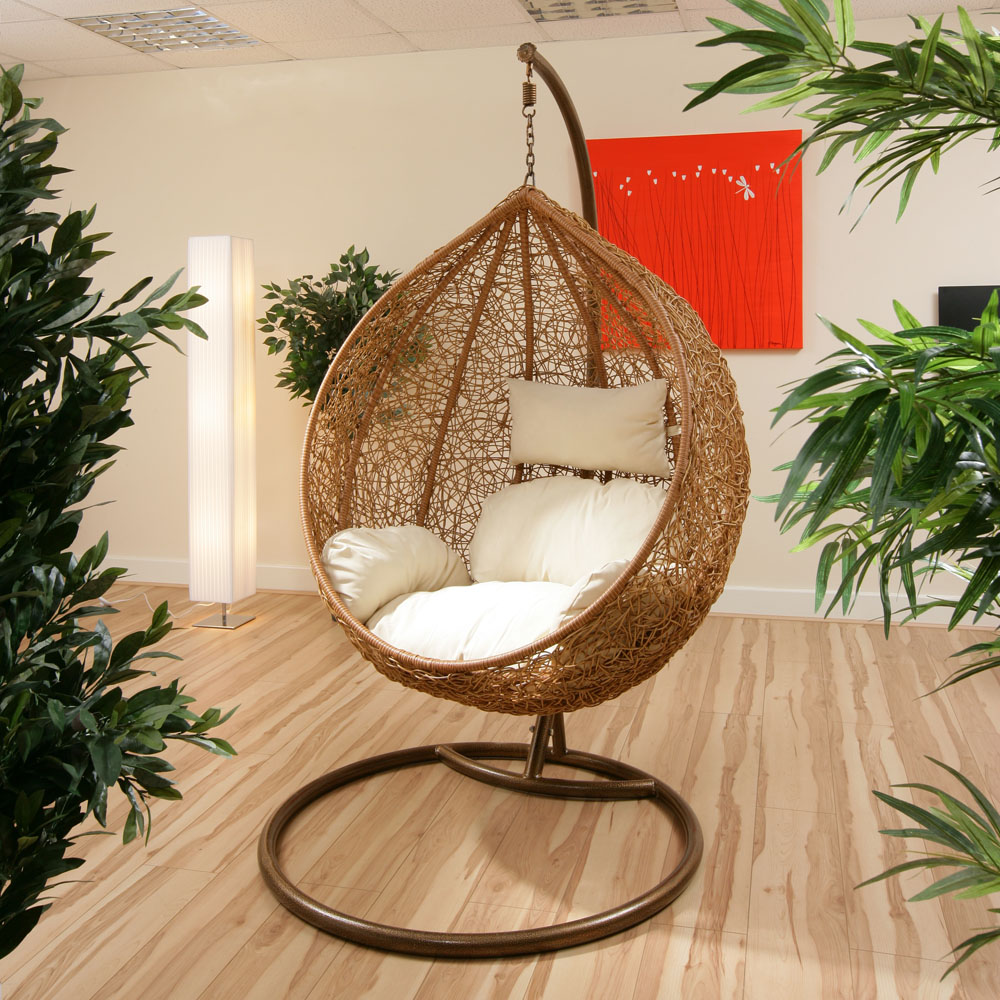 garden hanging chair swing cream cushions wicker huge ebay. Black Bedroom Furniture Sets. Home Design Ideas