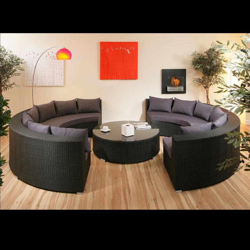 Rattan Round Coffee Table Uk: Luxury Large Black / Grey Round Rattan Sofa & Coffee Table