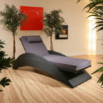 View Item Large Luxury Garden Rattan Lounger / Sunbed / Day Bed Black / Grey