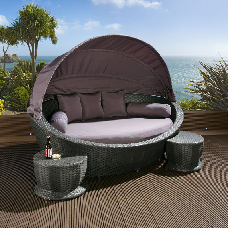 Garden Rattan Daybed Black Grey Cushions footstools canopy cover