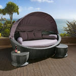 View Item Large Garden Rattan Daybed Black/Grey Cushions,footstools,canopy,cover