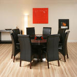 View Item Large Round Black Oak Dining Set Table + 8 high back leather chairs