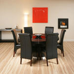 View Item Large Round Black Oak Dining Set Table + 6 high back leather chairs