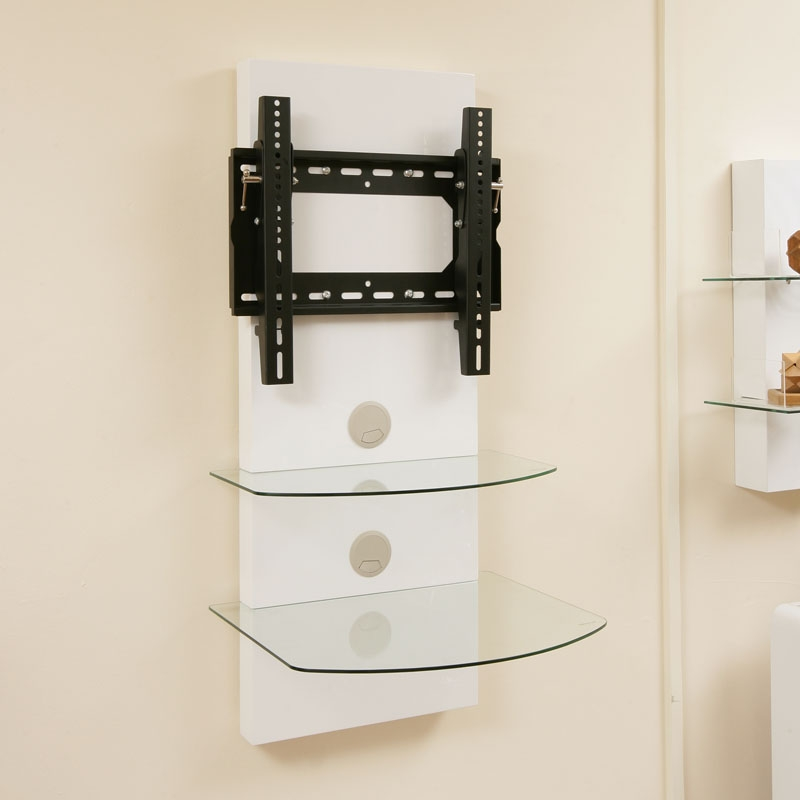 tv wall mount bracket shelves white gloss tilt vesa lcd. Black Bedroom Furniture Sets. Home Design Ideas