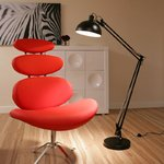View Item Retro Giant Cherry Picker Black Standard Lamp / Light