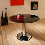 View Item Black Glass & Chrome Round Dining Table with lazy susan