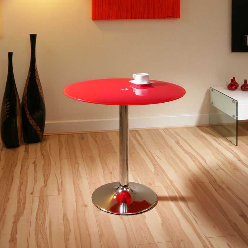 Red Round Dining Table: RED Glass / Chrome Round Dining Table Modern 80cm A12