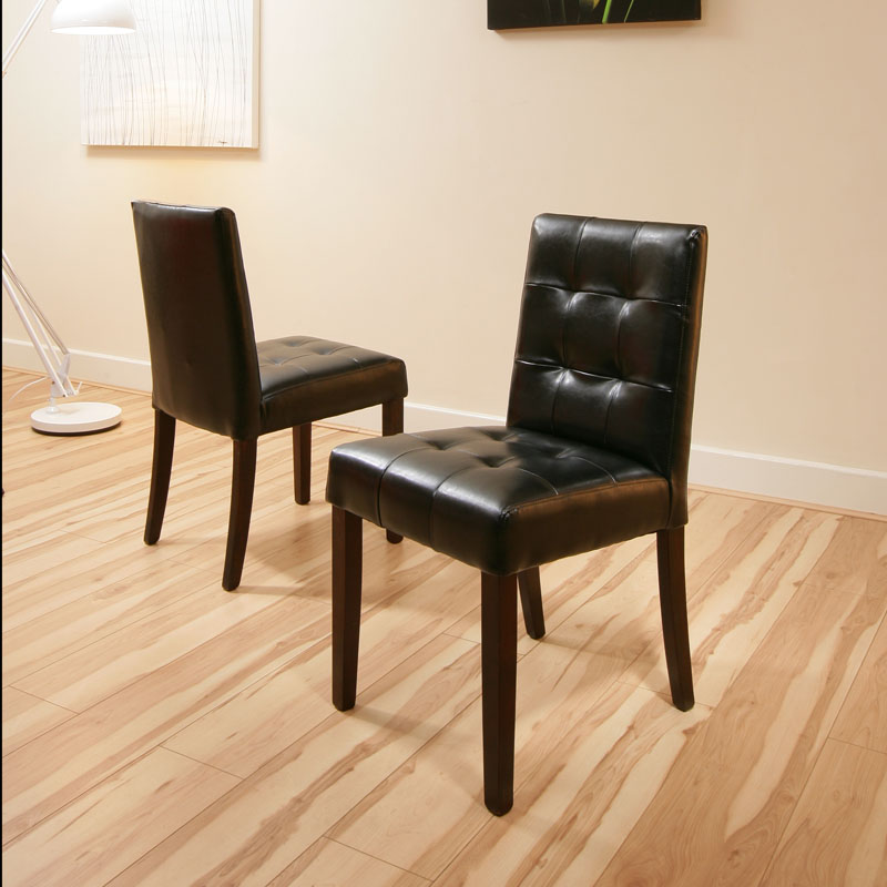 dining chairs black leather low back set of 2 chester ebay