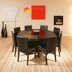 View Item Large Round Black Oak Dining Set Table/Tables and 8 leather chairs 850