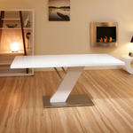 View Item Large Rectangular Dining Table in High Gloss White, Chrome Modern D251