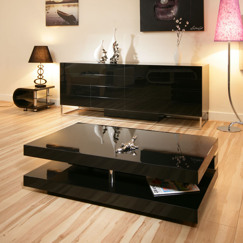 Beautiful coffee side table tables black gloss modern for Beautiful coffee tables