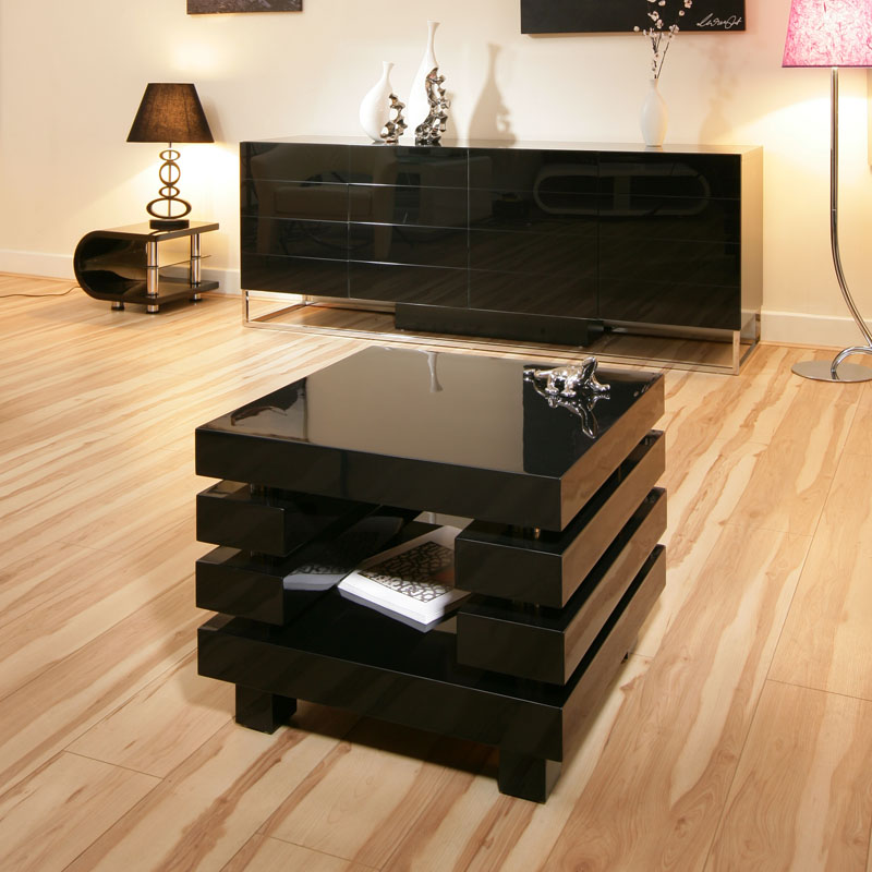 Beautiful End Side Lamp Table Tables Square Black
