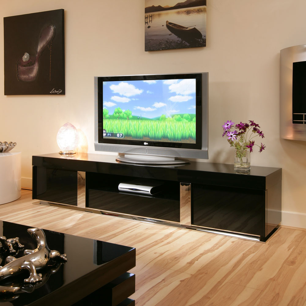 tv stand cabinet unit large black gloss stainless modern 912f ebay. Black Bedroom Furniture Sets. Home Design Ideas