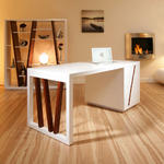 View Item Large Executive White Gloss / Walnut Desk / Work Station with Drawers
