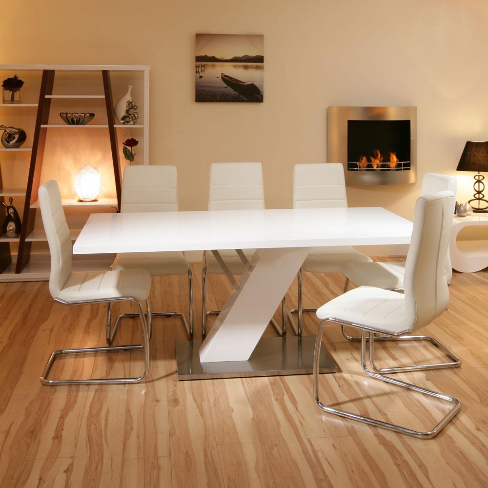 Stunning dining Set White Gloss Table + 6 white Modern ...