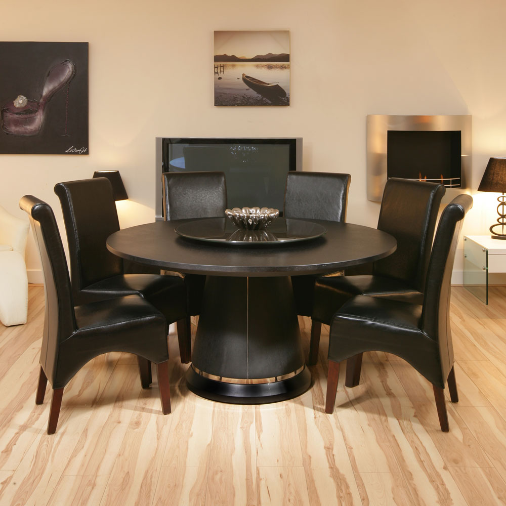 ... Oak Dining Table + Lazy Susan Black Oak & 6 High Leather Chairs  eBay